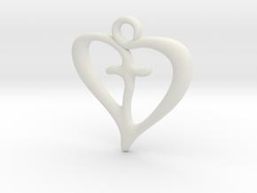 Cross My Heart Pendant in White Premium Versatile Plastic