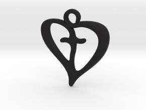 Cross My Heart Pendant in Black Premium Versatile Plastic