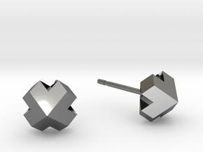 Four-face heart earrrings in Fine Detail Polished Silver
