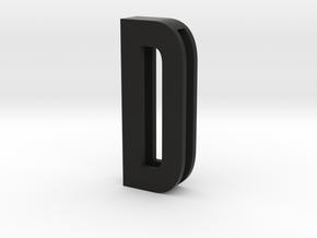 Choker Slide Letters (4cm) - Letter D in Black Premium Versatile Plastic