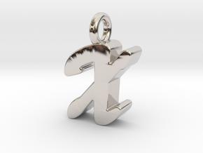 X - Pendant 3mm thk. in Rhodium Plated Brass
