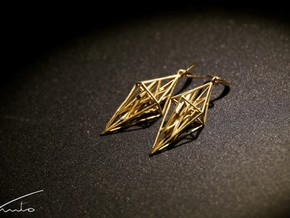 geosharp earrings in Natural Brass