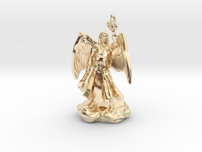 Female Aasimar Cleric With Mace in 14k Gold Plated
