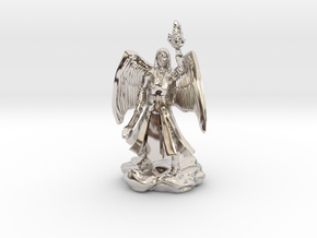 Female Aasimar Cleric With Mace in Rhodium Plated Brass