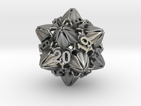 Floral Dice – D20 Spindown Life Counter die in Natural Silver