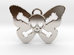 Cute Butterfly Skull in Rhodium Plated Brass