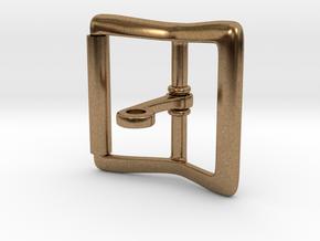 Locking Tongue Roller Buckle (4cm) in Interlocking Raw Brass