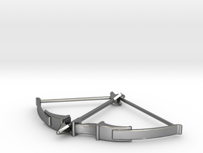 Recurve Bow Pendant in Polished Silver