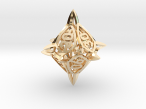 'Center Arc' dice, 10D10 Spindown Life Counter in 14k Gold Plated Brass