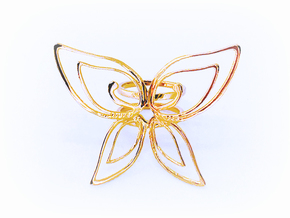 Butterfly double ring -Anello Farfalla in 18k Gold Plated Brass: 6 / 51.5