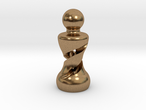 Chess Pawn Double Helix in Natural Brass: Large