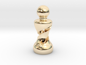 Chess Pawn Double Helix in 14K Yellow Gold: Large