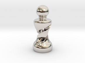 Chess Pawn Double Helix in Platinum: Large