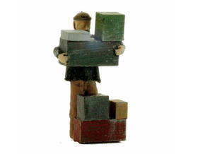O Freight Dock WORKER Stacking Boxes Figure in Smooth Fine Detail Plastic