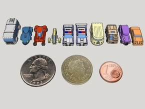 6mm GothiTech Cars (10pcs) in Smooth Fine Detail Plastic