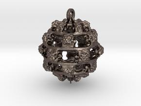 Integer Fractal Pendant in Polished Bronzed Silver Steel