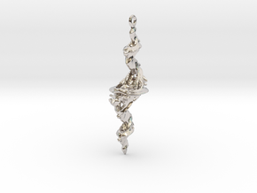 Tricorn Fractal Pendant in Rhodium Plated Brass