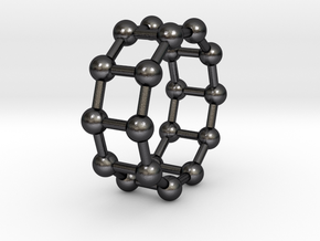 0345 Decagonal Prism V&E (a=1cm) #003 in Polished and Bronzed Black Steel