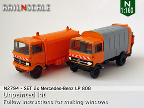SET 2x Mercedes-Benz LP 808 (N 1:160) in Smooth Fine Detail Plastic