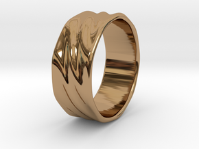Ripple Ring in Polished Brass: 6 / 51.5
