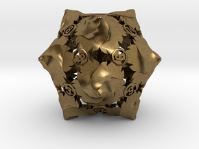 D20 Balanced - Fire (Small Numbers) in Natural Bronze