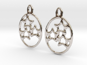 Oval 3 Star Earrings (pair) in Rhodium Plated Brass