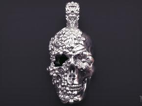 Sugar Skull Pendant in Raw Silver