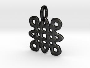 Samhain Glyph Charm in Matte Black Steel