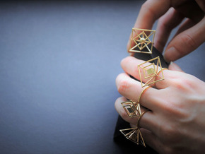 Levitating cube (big) size 54 in Natural Brass
