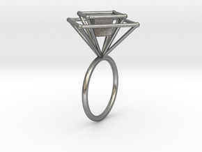 Levitating cube size 50 in Natural Silver