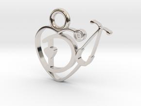 Stethoscope Heart in Rhodium Plated Brass