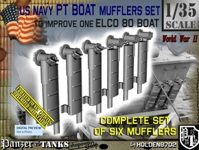 1/35 Elco PT Boat Mufflers Set001 in Smooth Fine Detail Plastic