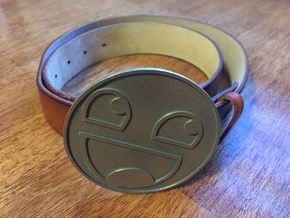 Epic Smiley Belt Buckle in Polished Bronzed Silver Steel