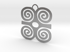 Adinkra Symbol of Strength Pendant in Natural Silver