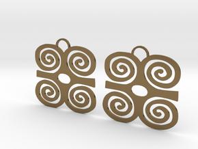Adinkra Symbol of Strength Earrings in Polished Bronze