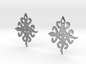 Adinkra Symbol of Unity in Diversity Earrings in Polished Silver