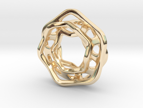 Hex Möbius, 16mm in 14k Gold Plated Brass