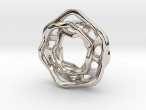Hex Möbius, 16mm in Rhodium Plated Brass
