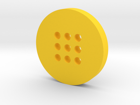 Large Alphabet Button in Yellow Processed Versatile Plastic
