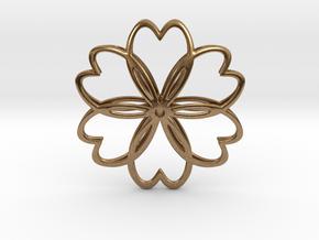 Cherry Blossom Symbol Pendant in Natural Brass