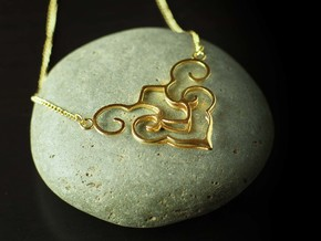 Wishful Cloud Symbol Necklace  in Natural Brass