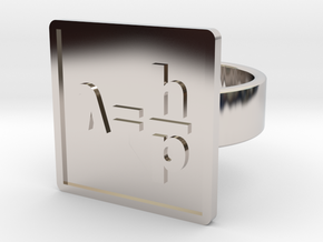 de Broglie Wavelength Ring in Rhodium Plated Brass: 8 / 56.75