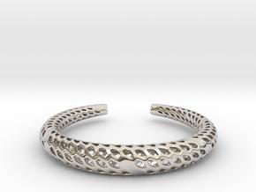 D-Strutura Bracelet Medium Size in Rhodium Plated Brass