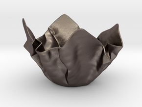Paper Bowl (Free 3D File) in Polished Bronzed Silver Steel