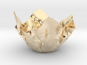 Paper Bowl (Free 3D File) in 14k Gold Plated Brass