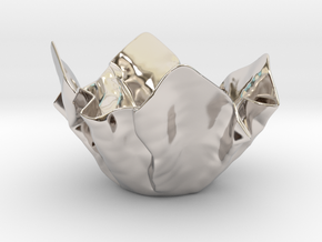 Paper Bowl (Free 3D File) in Rhodium Plated Brass