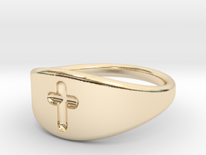 Cross ring A (US sizes 1.5 – 5.5) in 14k Gold Plated Brass: 5.5 / 50.25