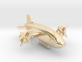 Zeppelin with moving rotors in 14k Gold Plated Brass