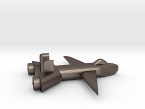 Jet no landing gear in Polished Bronzed Silver Steel