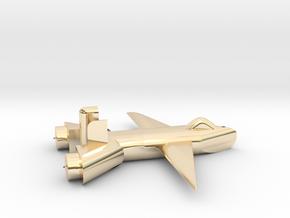 Jet no landing gear in 14k Gold Plated Brass